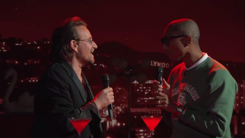 Bono i Pharrell z przeróbką Bee Gees u Kimmela